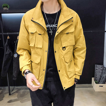 2019 New Pattern Work Clothes Collar Jacket Male More Pocket Korean Edition Loose Thin Coat Black windbreaker Free shipping