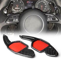 R8 manetka zmiany biegów w kierownicy przedłużający z włókna węglowego dla Audi A3 RS3 A5 RS6 A4L A6L A7 Q3 A8 Q5 S5 Q7 S6 TT S7 TTS S8 GKJH w Kierownice i piasty od Samochody i motocykle na