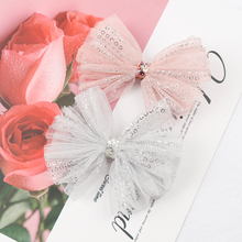 ncmama Hair Bows for Girls Korean Organza Clips with Bling Sequin Sweet Princess Bowknot Hairgrips Kids Accessories