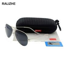 Mens Womens Aviation Metal Alloy Polarized Sunglasses Luxury Retro Classic Sun Glasses Silver Large Frame Black HD TAC Lenses