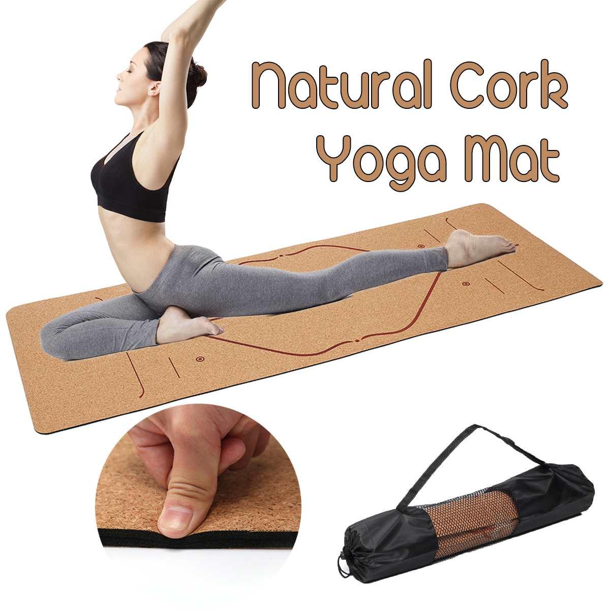<+>  5 мм Натуральная Пробка TPE Yoga Mat 183X68 см Нескользящий Фитнес Спорт Тренажерный Зал Pad Пилатес ✔