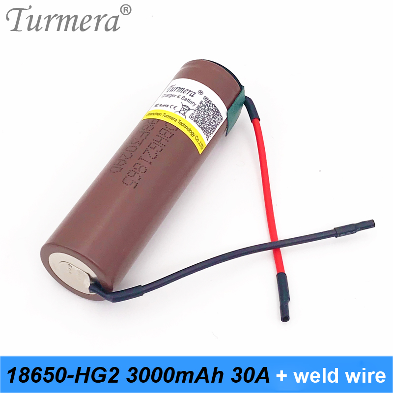battery 18650 hg2 18650 3000mah battery 30a rechargeable 18650 battery soldering wire for shura screwdriver tool battery Turmera