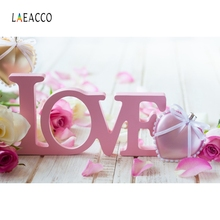 Laeacco LOVE stereoscopic Typeface Rose Heart Backdrop Photography Backgrounds Customized Photographic For Photo Studio