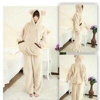 2018 New Autumn Women Flannel Pajamas Set Bear Hooded Pajamas Sleepwear Coral Fleece Thickened Warm Pyjamas Home suit