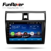 FUNROVER 2 din Android 8,0 автомобильный dvd gps Мультимедиа 10,1 для suzuki swift 2005 2018 автомобильный радиоплеер навигационный головное устройство wifi BT