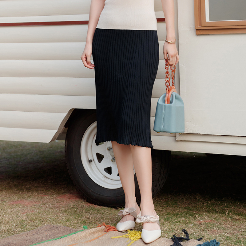 2019 spring and summer high waist knitting skirt women hip package skirts all-match knitted skirts female SJ1472