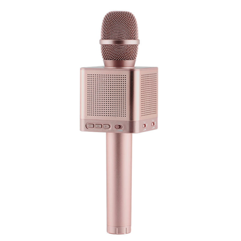 Q10S Wireless Karaoke Microphone 2.1 Sound Track Dimensional Sound Voice Change 4 Speakers Smart Microphone Rose goldQ10S Wireless Karaoke Microphone 2.1 Sound Track Dimensional Sound Voice Change 4 Speakers Smart Microphone Rose gold