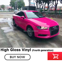 Car Styling Stickers PVC Glossy Vinyl Body Film rose red Wrap Bubble Free Car Wrapping Film for High end market