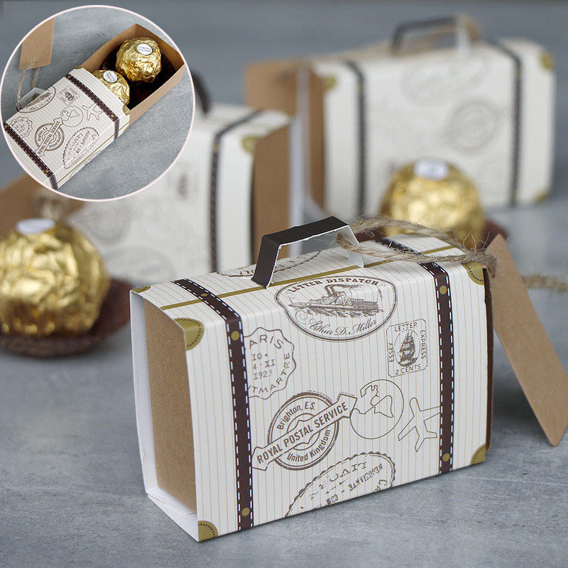 10/50/100PCS DIY Mini Suitcase Candy Box  Carton Wedding Gift Box Candy Packaging Bag Event Party Supplies Wedding With Card