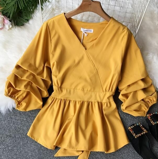 2109 Spring Women V-neck Puff Sleeves Blouse Slim Tunic Tops Retro Vintage Pullovers Busos Para Mujer Kimonos 67