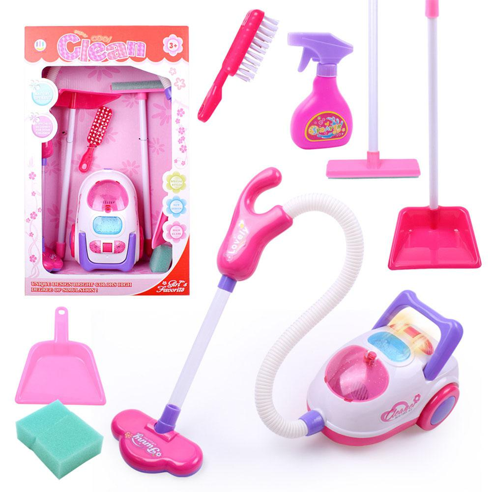Children Kids Gift For Children Cleaning Tool Toy Vacuum Cleaner Cleaning Kit Play House Toys Simulated Cleaning Cart Set Toys
