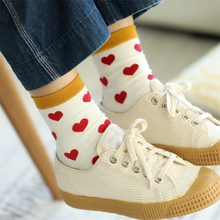 Fashion Colorful Love Cotton Women Socks Top Grade Romantic Cute Heart Jacquard Lovely Print Spring Autumn Winter