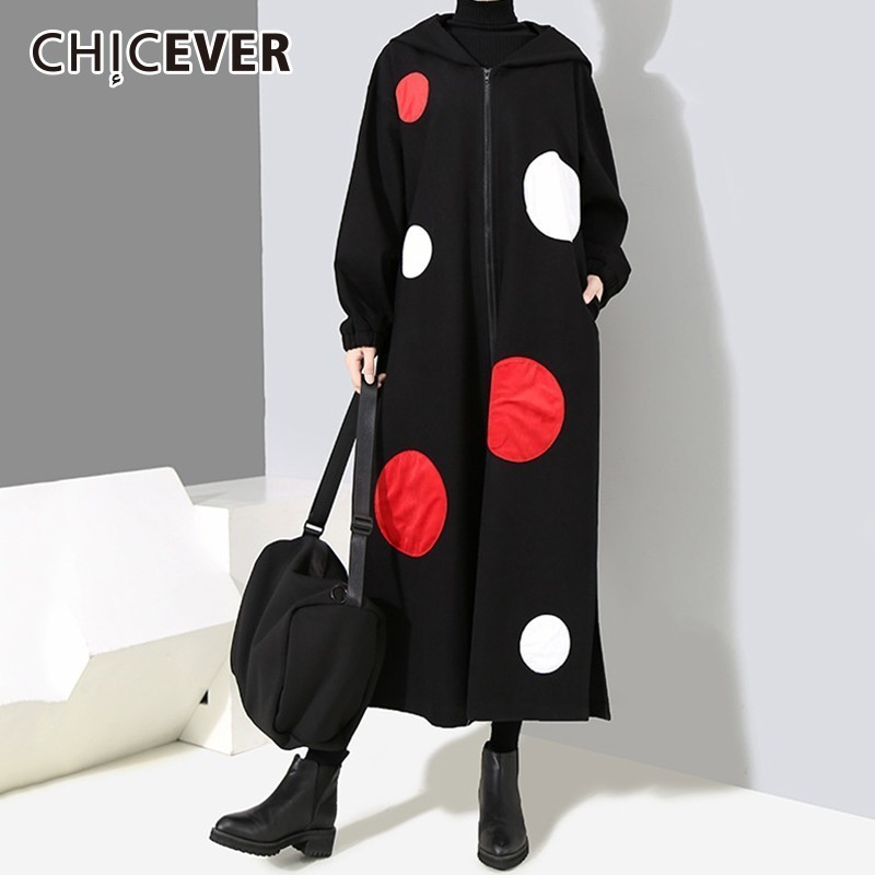CHICEVER Polka Dot   Trench   Female Coat Hooded Long Sleeve Zipper Hem Split Loose Windbreaker Autumn Korean Fashion Clothing Tide