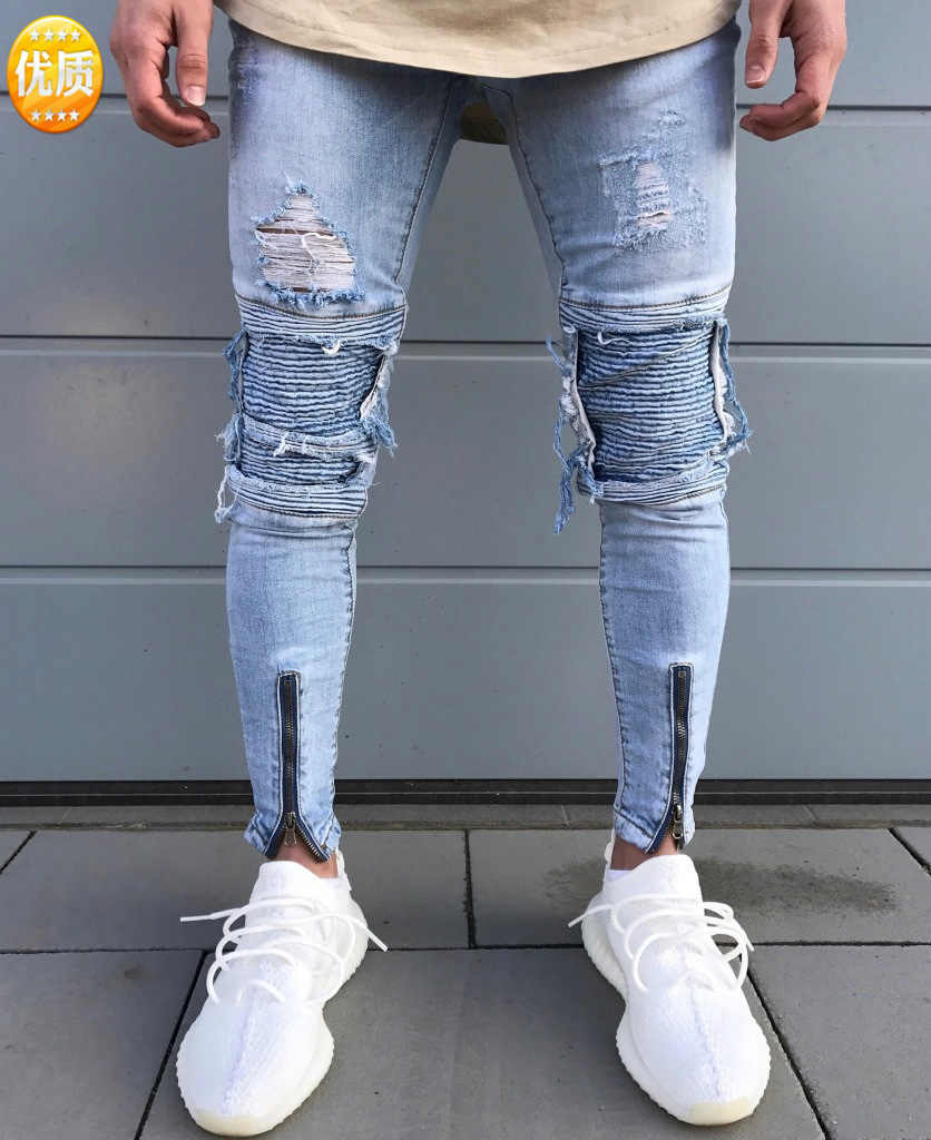 Brand designer slim fit fashion ripped knee leather torn cool damaged biker jeans pants for men Cotton Skinny jeans High Quality