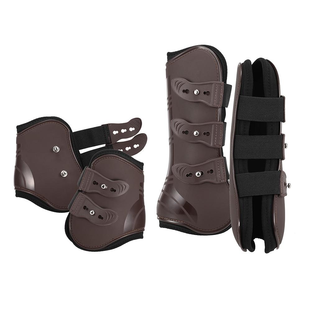 Adjustable Horse Leg Boots Equine Front Hind Leg Guard Equestrian Tendon Protection Horse Hock Brace 4 PCS Front Hind Leg Boots