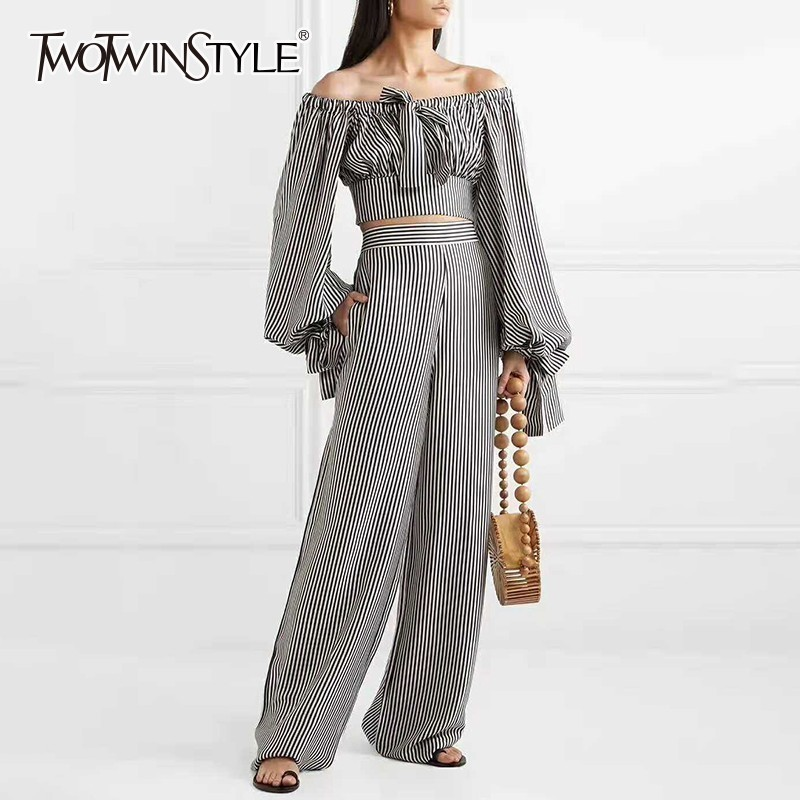 TWOTWINSTYLE Striped Two Piece Set Off Shoulder Lantern Long Sleeve Bowknot Crop Tops High Waist Wide Leg Pants 2019 Womens Suit