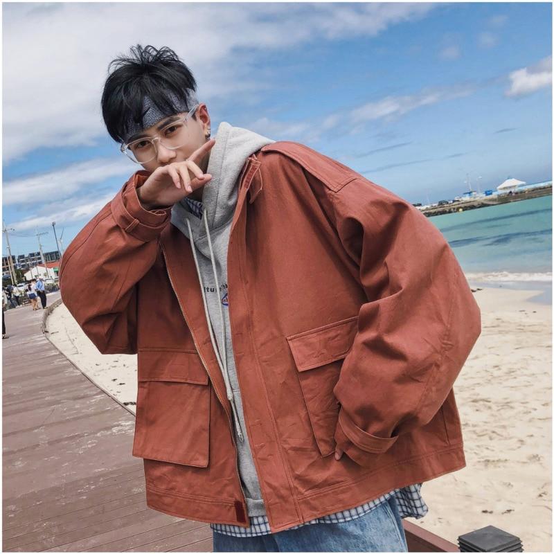 Erkek Kıyafeti'ten Ceketler'de 2018 Artı Pamuk Yeni erkek Japon Port Rüzgar Askeri Trend Büyük Cep Düz Renk Ceket Ceket Siyah/Ordu yeşil/Kahverengi S XL'da  Grup 1