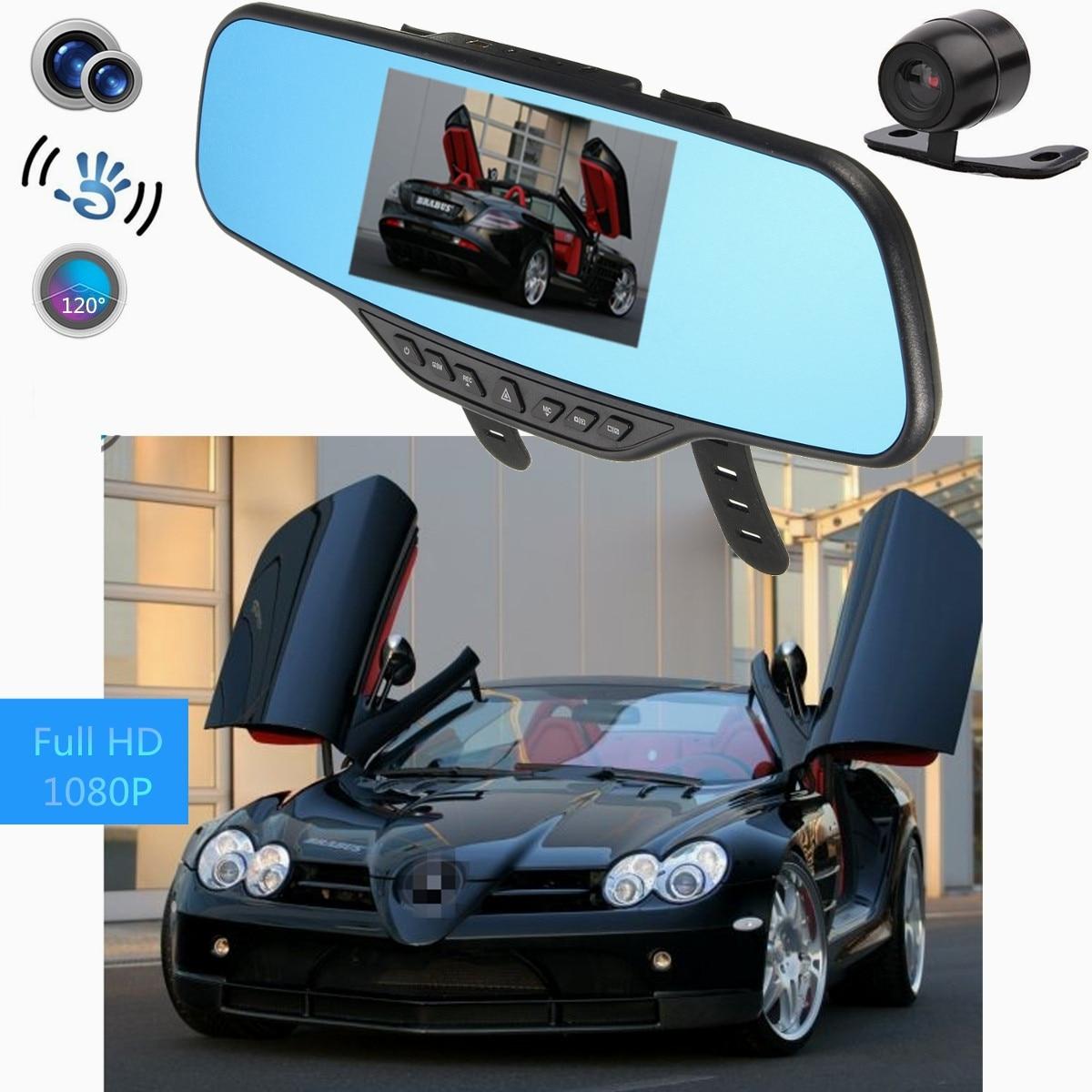 4.3 Pouces HD 1080 P Voiture enregistreur vidéo double objectif Dash Caméra GPS Rétroviseur enregistreur caméra TFT Anti Shake Vidéo Transparente Étanche