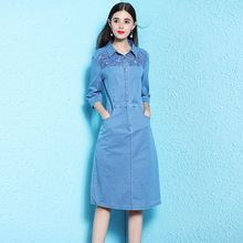 Denim dress summer 2019 girl denim dresses women knee length hollow out feminino NW18C2868
