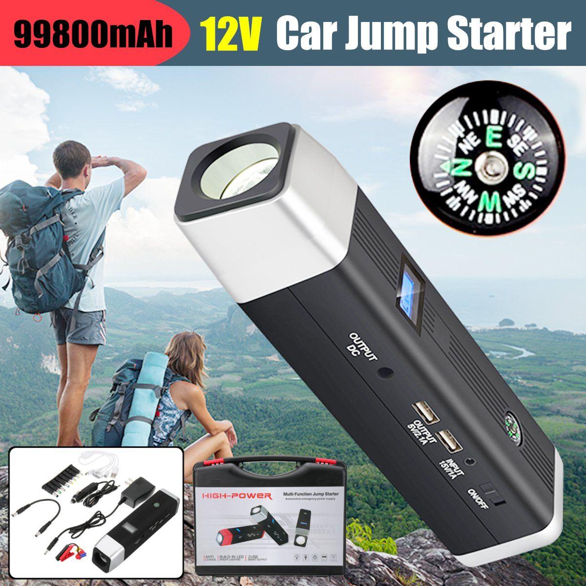 99800 mAh puissance voiture saut démarreur 12 V 600A pics Portable démarrage dispositif batterie externe chargeur de voiture pour voiture batterie Booster 2 USB