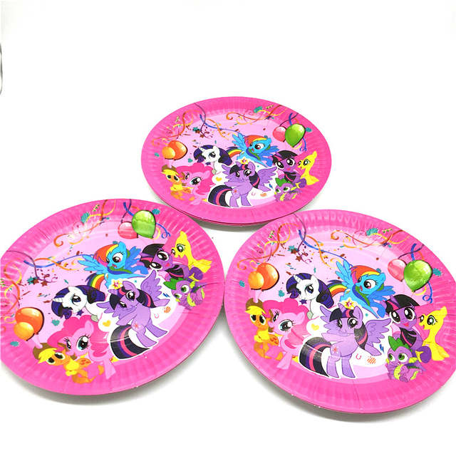 10pcs Cartoon My Little Pony Baby Shower Favors Disposable Cake Dish Birthday Wedding Party Paper Plates Decoration Supply