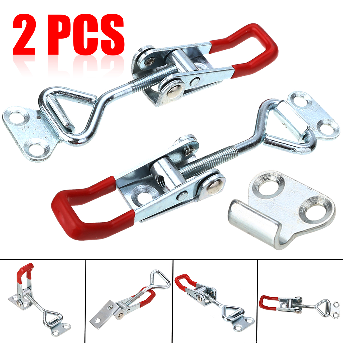 2pcs Toggle Catch Latch Clamp Cabinet Boxes Lever Handle Hasp Adjustable Metal Clasp Length Furniture Hardware Silver+Red