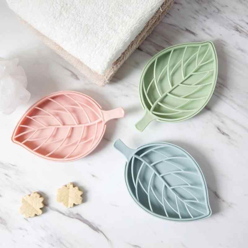 Folha de plástico forma saboneteira prato placa de sabão titular bandeja sabão placa de chuveiro caminhadas casa de banho caso recipiente
