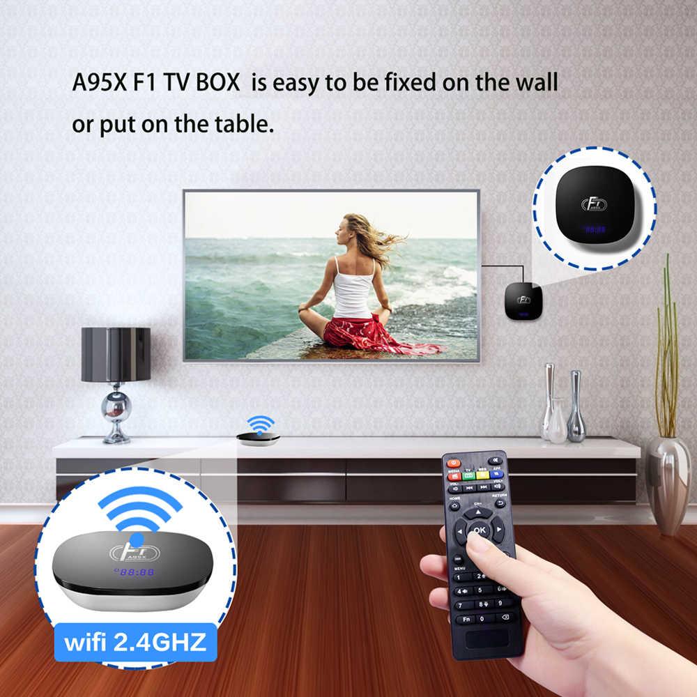 Smart tv box A95X F1 Android 8,1 tv Box Amlogic S905W телеприставка пульт дистанционного управления четырехъядерный VP9 H.265 2 GB/16 GB 2,4G WiFi HD box