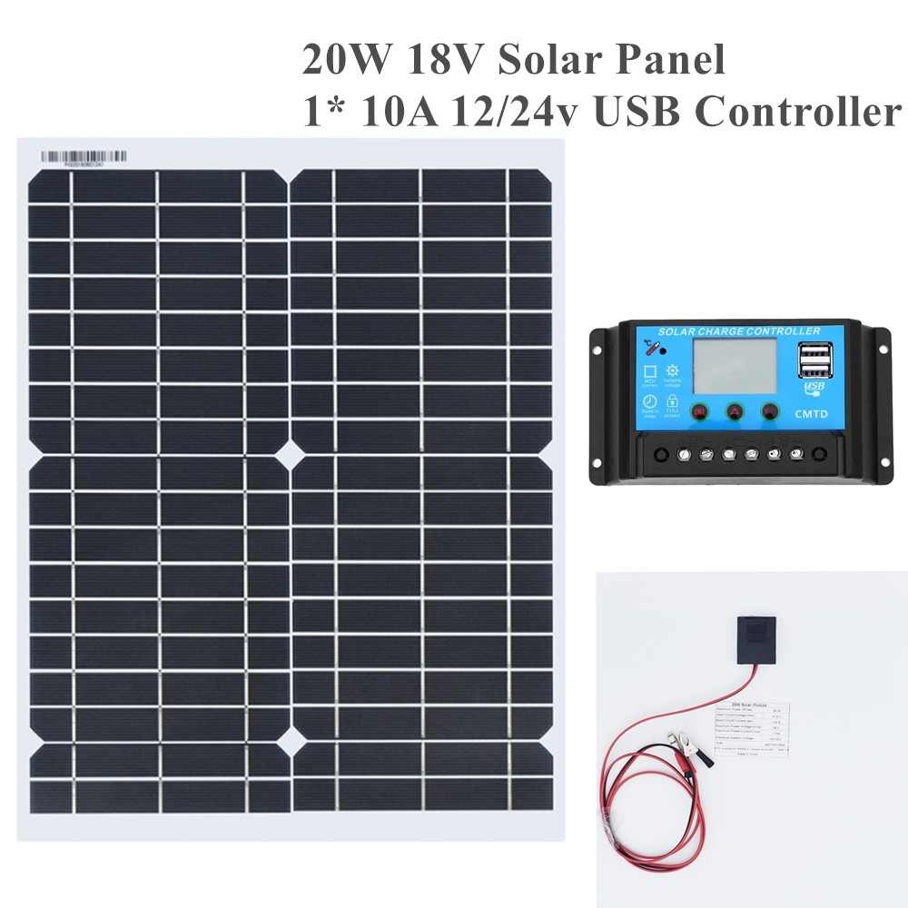 20w 18v Flexible Solar Panel DIY Module Panel Crocodile Clip Connector High Efficiency Solar Cell Mono Module for RV Boat Yacht