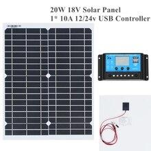 20 w 18 v Panel Solar Flexible bricolaje módulo Panel Clip de cocodrilo conector Solar de alta eficiencia celular Mono módulo RV barco yate