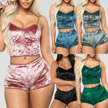 Sexy Womens 2Pcs Lingerie Velvet V Neck Pajamas Set Sleepwea
