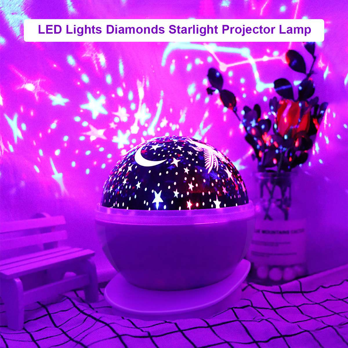 LED Night Light Automatic Rotating Star Sky Projection Lights Stars Moon Colorful LED Lights Diamonds Starlight Projector Lamp