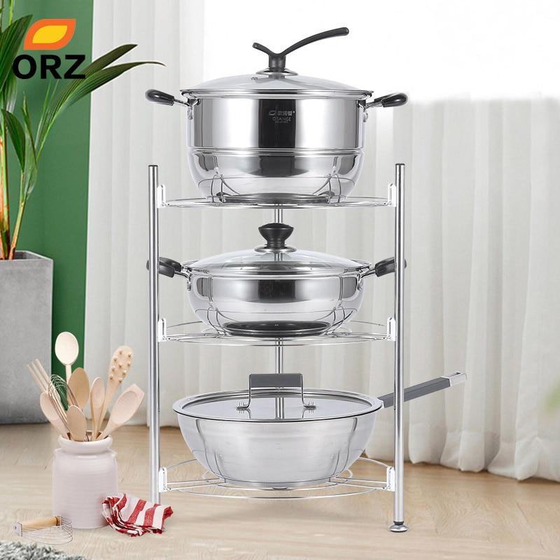 US $22.19 40% OFF|ORZ 3 Tier Kitchen Storage Shelf Countertop Organizer  Stainless Steel Pan Rack Pot Holder Kitchen Accessories Organizer  DishRack-in ...
