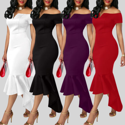 2019 Women Evening Party Club Wear Short Sleeve Off Shoulder Ruffle Asymmetric Midi Dress 3