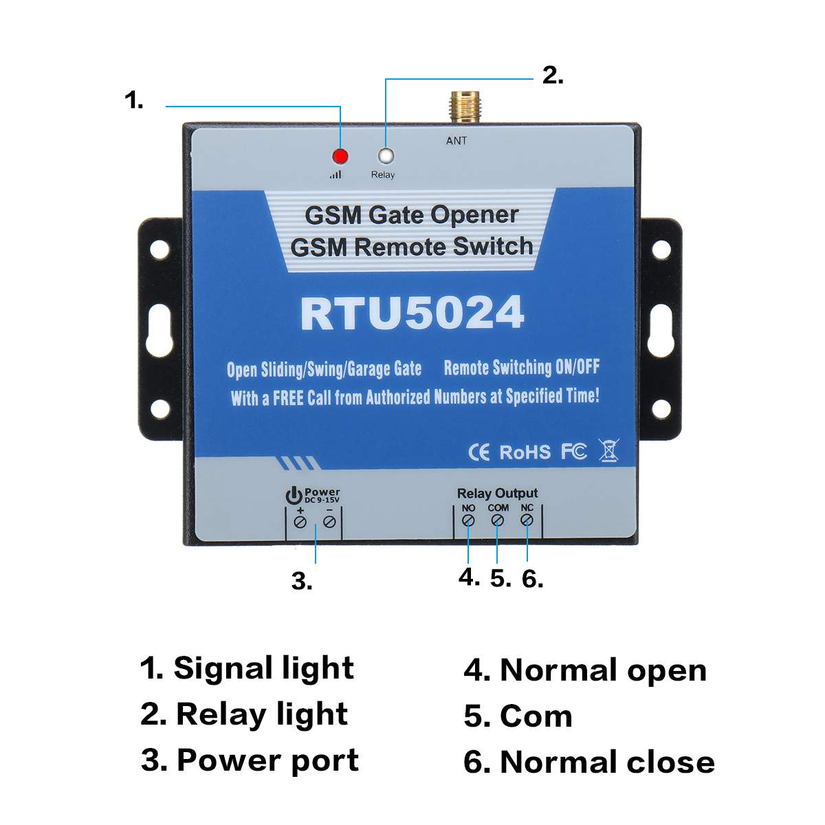 GSM gate opener wireless remote control ON OFF switch free call mobile web app