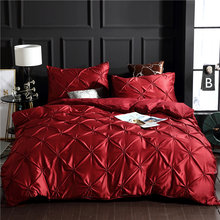 Sherwood 2/3PCS Faux Silk Damask 3D Ruched Embroidery Bed Linen Duvet Cover Set with Pillowcase Luxury Queen King Size(China)