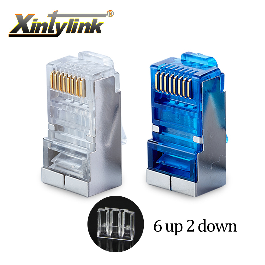 xintylink rj45 connector cat6 ethernet cable plug 8P8C metal shielded 8pin blue stp rj 45 terminals network cat 6 modular 50pcs-in Computer Cables & Connectors from Computer & Office
