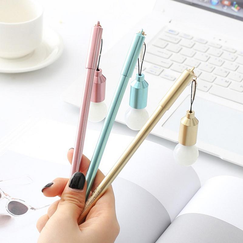 0 38MM Neutral Gel Pen Multifunctional Light Bulb Kawaii Cute Black Pink Student Sign Pen Office School Stationery Supply in Gel Pens from Office School Supplies