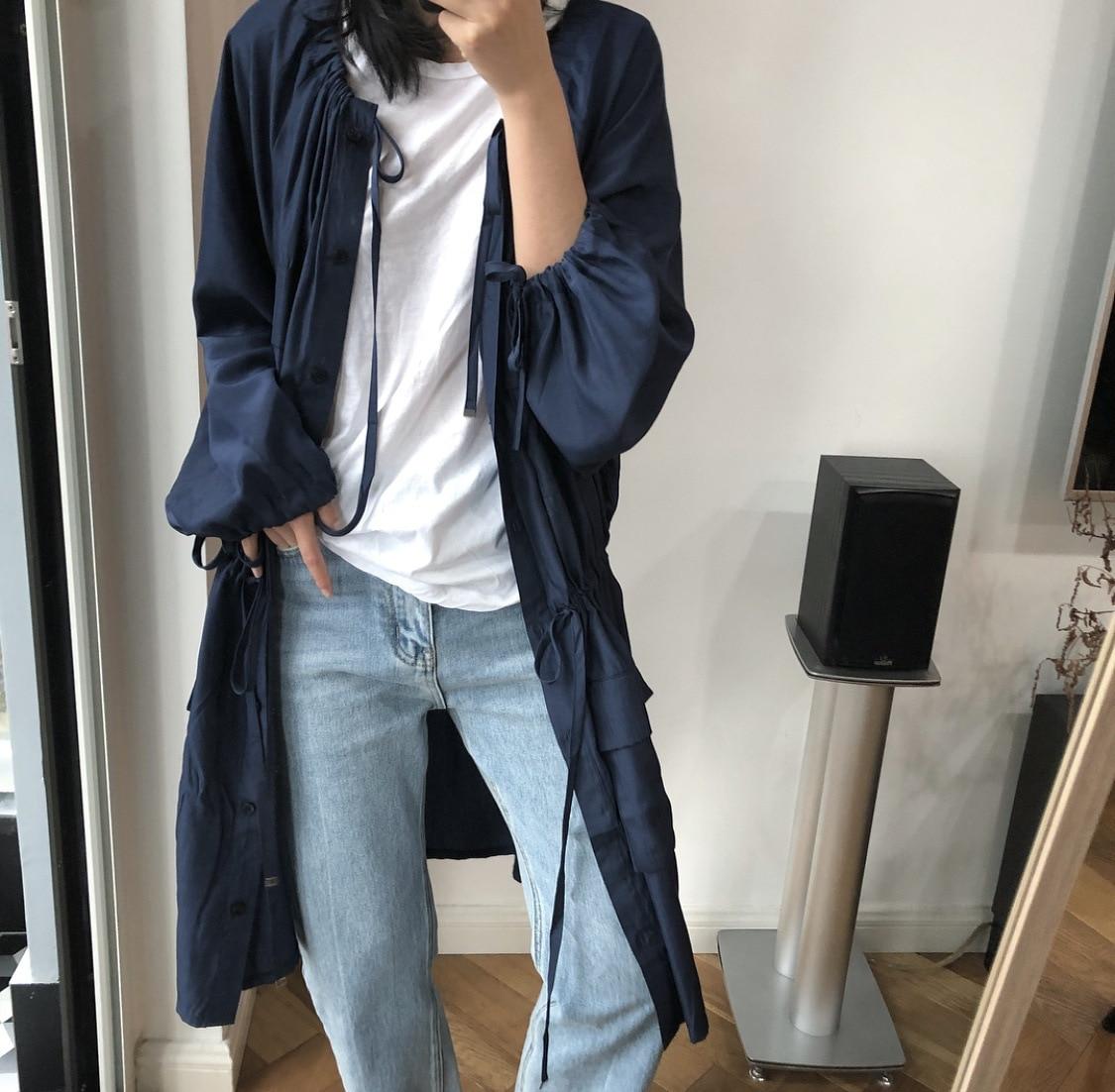 Plissée Femmes Nouvelle Vêtements Wc88918 Draswtring Dentelle 2019 Mode Purplish Lanmrem Blue Poitrine Up Coréenne Femelle Unique Mince Winbreaker IwXB0