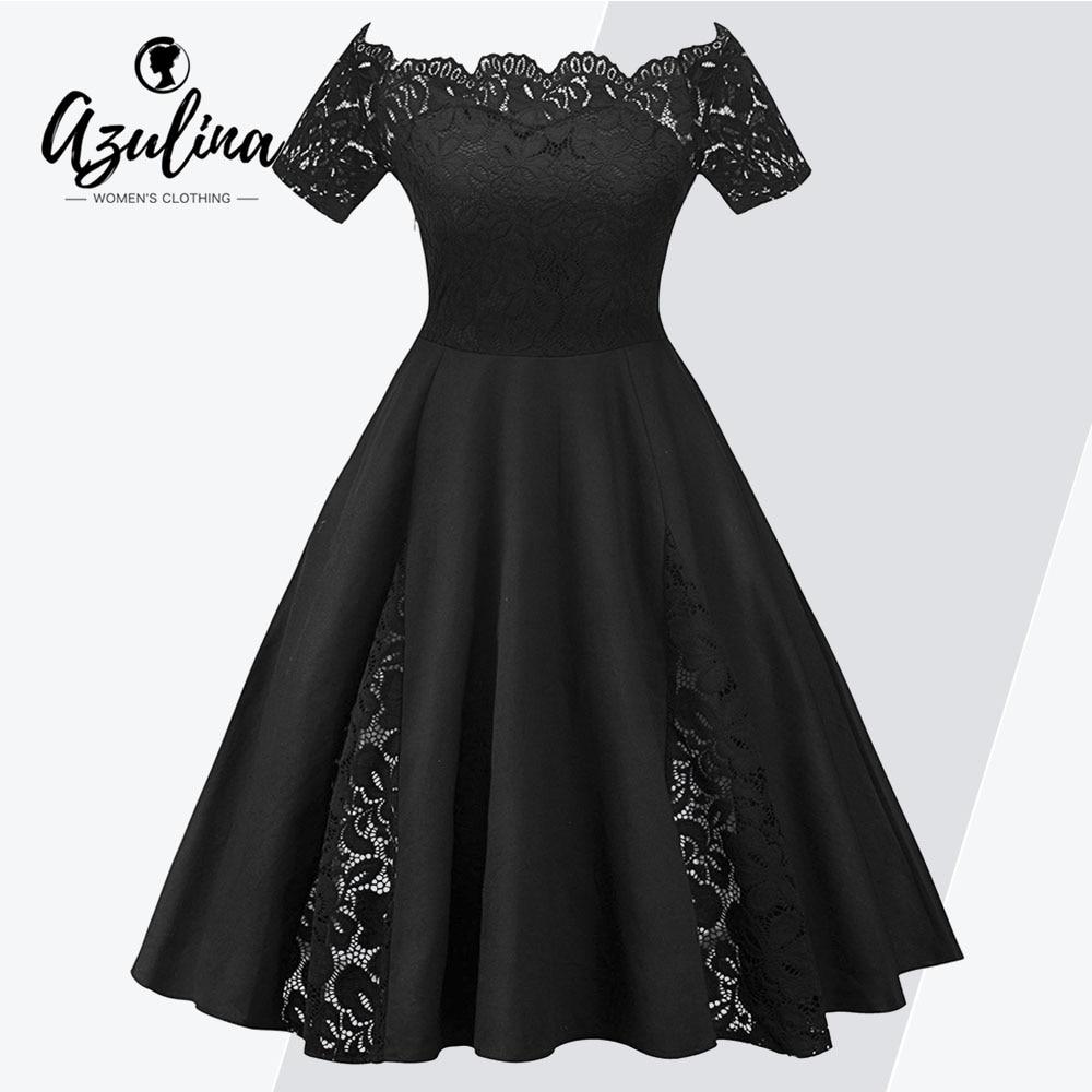 AZULINA Lace Panel Off The Shoulder Plus Size Dress Women Vintage Lace Party  Dress Female Solid fc61c8730096