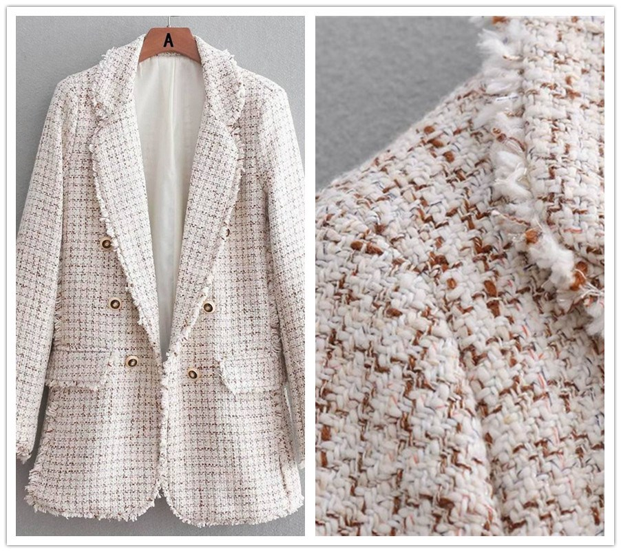 Autumn Winter Worsted Blazer Open Stitch Buttons Ol Work Suit Outwear Notched Collar Tweed Coat