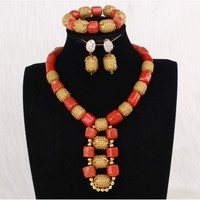 4ujewelry African Necklace Gold And Coral Dubai Necklace Jewelry Set Costume Choker Earrings Necklace Set With Bracelet 2019 New