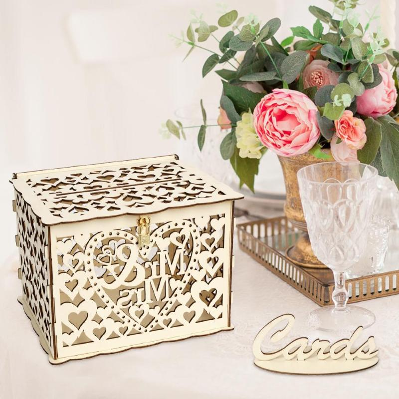 Hollow DIY Wedding Gift Card Box Container Wooden Money Box With Lock Wedding Party Decoration Supplies Drop Shipping