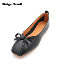 Eur Size 35-41 Bow knot Flats Woman Square Toe Ballet Flat Shoes Girls Casual Bow Knot Shallow Mouth Shoes недорого