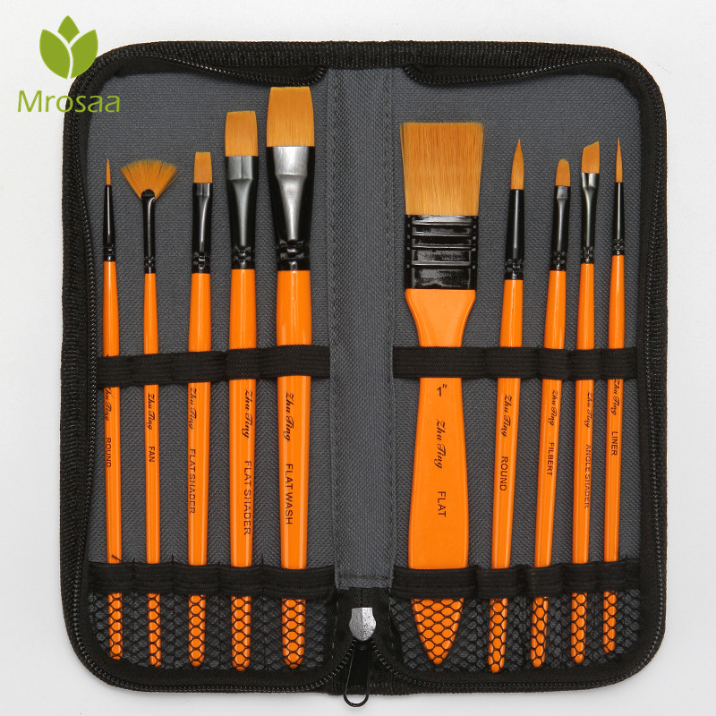 10Pcs Yellow Artist Paint Brush Set Nylon Hair Watercolor Acrylic Oil Painting Brushes Drawing Art Supplies With Carrying Case