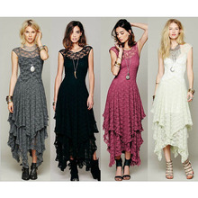 2019 Spring Hot Explosion Models Lace Fashion Sexy Irregular Hem Long Dress Female Beautiful Outfit