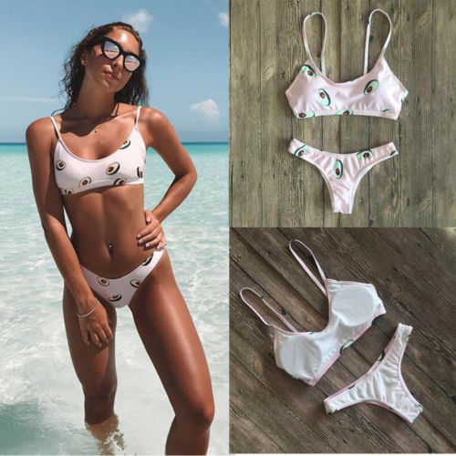 2Pcs Women's Summer Swimwear Avocado Print Bikini Set Push-up Padded Bra Bathing Suit Swimsuit