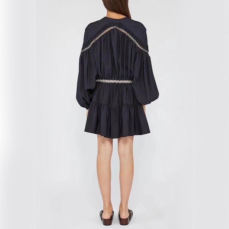 V カジュアル中空アウトパッチワークドレス女性ハイウエストの Bitcoin 2019