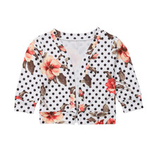 Fashion Baby Girl Boho Flower Cardigan Coat Autumn/Spring Polka Dot Warm Long Sleeve Cotton Outwear Tops Child Kids Casual Coat(China)