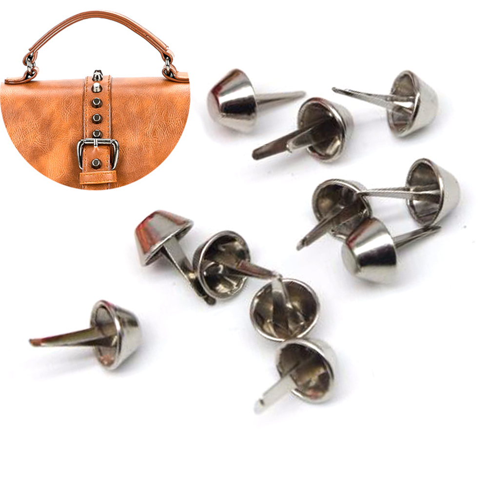 100pcs 12mm Metal Feet Rivets Studs Pierced Purse Punk Bag DIY Accessory Fashion Belt Accessories HipHop Rivet Metal Gold Silver in Bag Parts Accessories from Luggage Bags